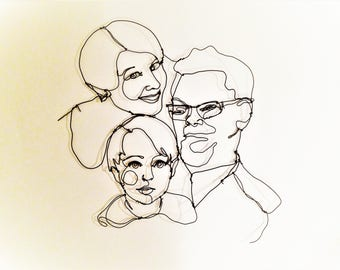 Wire sculpture, Family Portrait from photo, Crative guys, Family sculpture portrait, Wire Art