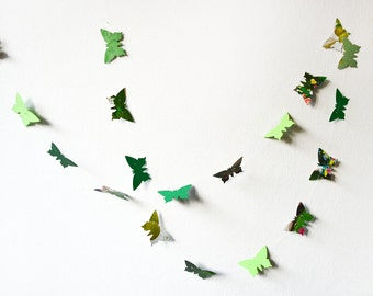 Green paper butterflies garland - wall decoration, wedding garland, crib decoration, party garland, choose your length