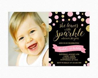 She Leaves a Little Sparkle Birthday Party Invitation, Polka Dot Birthday Invitation, Pink, Gold Glitter, Black, Photo, Printable or Printed