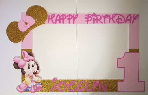 baby minnie mouse pink gold party photo booth frame