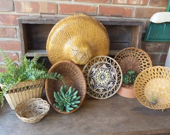 Vintage Wall Basket Collection, Gallery Wall Basket Decor, Hanging BASKETS, Boho Style Decor, Woven Baskets, Set of Baskets, Wicker Baskets