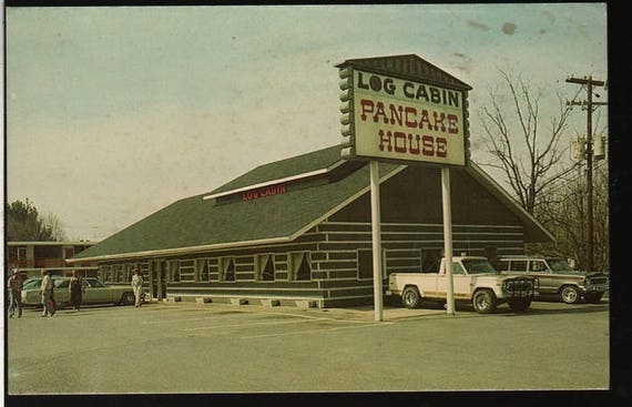 Log Cabin Pancake House + Pigeon Forge, Tennessee +  Vintage Souvenir Photo Postcard