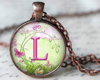 Monogram Key Chain, Pendant or Necklace - Floral Whimsey - Customized - Mother, Grandmother, Friend - Choice of 4 Colors