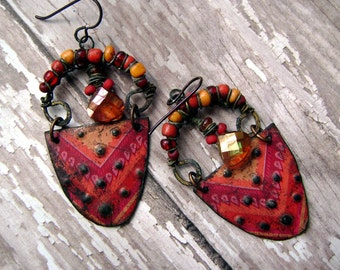 eco friendly, recycled tin, dangle, assemblage, colorful, boho gypsy, etched metal earrings by Anvil Artifacts