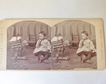 Child with Toys Stereoscope Card 1862, E. & H.T. Anthony Co., Young Idea Series, Cruelty to Animals