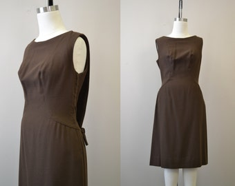 1960s Marty Modell Brown Wool Dress
