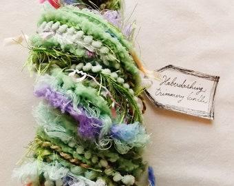 Peapod mint green pastel fringe garland pom trim Novelty Fiber Yarn Sampler Bundle