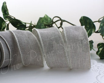 """Wired Gray Burlap Ribbon, No Shed Burlap, 1.5"""" wide"""