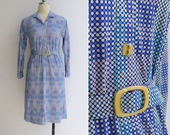 Vintage 80's 'Disco Dots' Blue Polyester Knit Shirt Dress with Belt XS or S