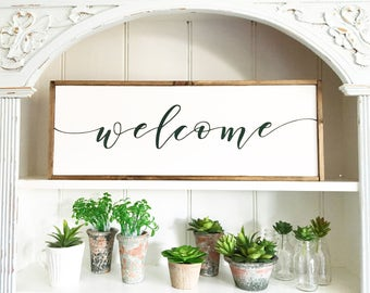 Welcome Wood Sign, Rustic Welcome Sign, Wood Sign, Welcome, Home Decor, Housewarming Gift,