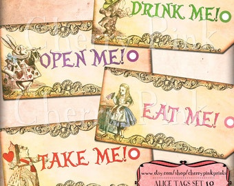 Alice in Wonderland party Tags, Wonderland decorations, digital party supplies, Eat me tags