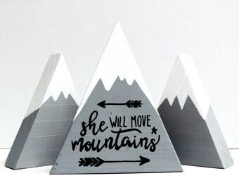 She will move mountains, Mountain art wood, First birthday girl gift, Baby girl gift, Baby boy gift, Nursery decor girl, Baby keepsake gift!