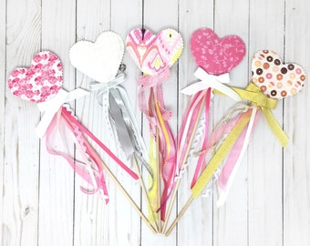 Fairy wand, princess wand, heart wand, magic wand with streamers - for pretend play, birthday party, valentine photo prop, kids costume