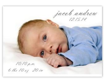 Birth Announcement Photo Card, Adoption Announcement Photo Card, CUSTOM for YOU - 4x6 photo card - modern baby announcement photocard