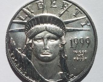 Platinum Coin, Uncirculated 1999 1/2 OZ Platinum Eagle, Platinum Eagle, Platinum Investment, 9995 platinum eagle, BU Platinum Coin
