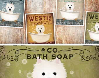 Westie West highland Terrier dog bath soap Company vintage style artwork by Stephen Fowler Signed Print UNFRAMED
