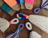 DIY Tassel Making Kit.  Make your own large or mini tassels with cream cotton rope and waxed neon twine. Block colour tassels