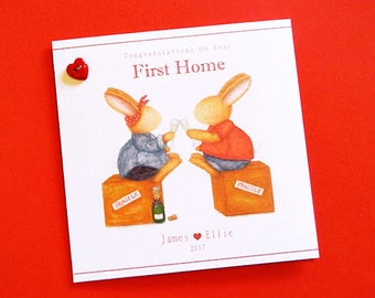 Personalised First Home/New Home Card-  Bobby Bunny and Friends Illustrated Luxury Card Range by Jennifer Keelan