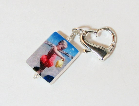 Custom Photo Tile Zipper Pull with Sterling lobster Claw Heart  - Medium - P2ZP