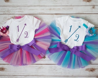 Twin girls half birthday outfit, Twin half birthday outfit twin girls 6 month outfit twin outfits twin photo outfit twin girl clothing tutu