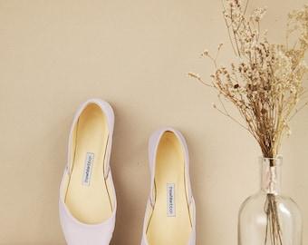 Lavender Bridal Ballet Flats |Bridesmaids Shoes | Pastel Purple Leather Flats |Classic Model | Standard Width | Lavender | Ready to Ship