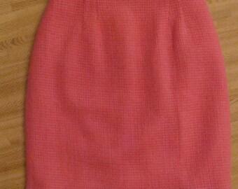 PINK PENCIL SKIRT woven 1960's wool mod 60's S (A8)
