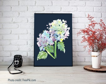 Blue Hydrangea Watercolor Print - Floral Watercolor Hydrangea Art, Large Prints Giclee, Purple Hydrangea, Square Prints, dramatic flower art