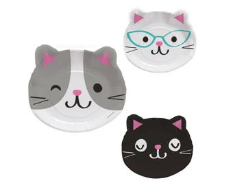 Cat Shaped Plates - Cat Birthday - Kitty Baby Shower - Meow Birthday - Kitten Birthday - Kitty Birthday - Cat Party Supplies - Party Decor