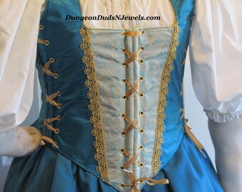 DDNJ Choose Fabric Reversible Muffin Top Style Corset Side Lace Plus Custom Made ANY Size Renaissance Pirate Anime Medieval Costume Tudor