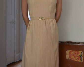 1960's Camel Linen Dress