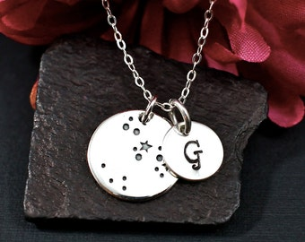 Personalized Sagittarius Constellation Necklace, Sagittarius Star Sign, Sagittarius Jewelry, Initial Necklace, Sterling Silver Necklace