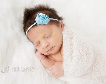 Blue Satin Headband, Blue Headbands, Blue Newborn Headband, Rose Headband, Blue Baby Headband, Baby Flower Headband, Photography Prop