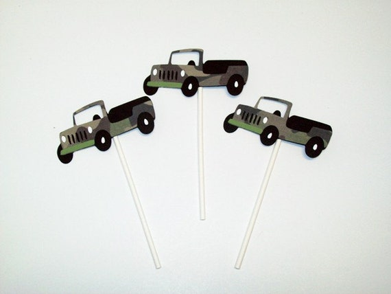 12 Jeep Inspired Cupcake Toppers Cake Toppers Birthday Party Boy