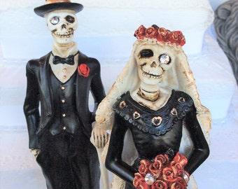 Wedding Cake Toppers-Skeleton Bride/Groom-Wedding Decorations-HAND PAINTED Black&Red - Wedding Centerpiece-Skull Wedding-Halloween Wedding