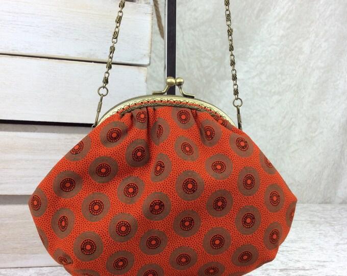 Orange Shwe Shwe records small frame handbag purse bag fabric clutch shoulder bag frame purse kiss clasp bag Handmade