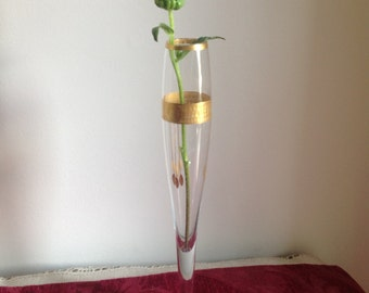 Vintage Bud Vase with Gold Overlay