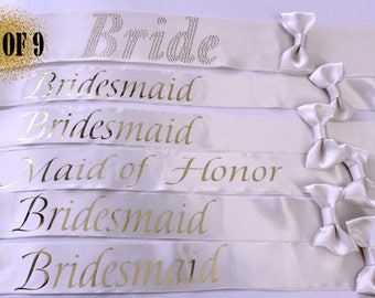 9 Bridesmaid Sashes, 9 Wedding Sashes, Bachelorette Sash, Bachelorette party, Bridesmaids, Bachelorette, Maid of honor, Weddings