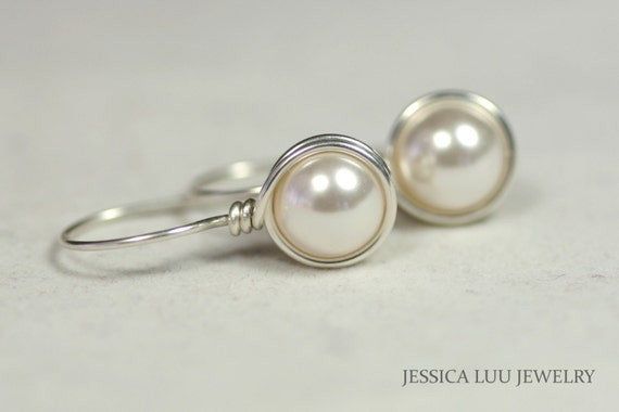 White Pearl Earrings Wire Wrapped Jewelry Sterling Silver