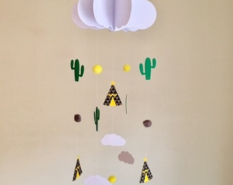 Baby Mobile - Cactus Baby Mobile, Teepee Mobile, Hanging Baby Mobile, Nursery Mobile, 3D Paper Mobile