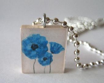 Pretty Flowers Scrabble Tile Necklace
