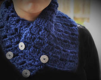 Hand knit navy scarf with silver buttons