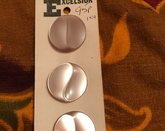 Vintage 1960's large 'pearl' effect buttons-never used