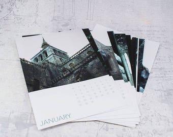 Desktop Calendar 2018, Mont Saint-Michel France, small desk calendar with stand, 12 month photography calendar, desk accessory