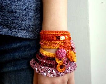 Crochet Bead Cuff - Bracelet - crocheted statement bracelet,crochet bracelet, crochet cuff,crocheted flowers, beaded cuff, sequins