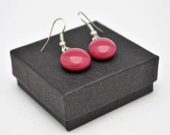 Pink fused glass stud earrings