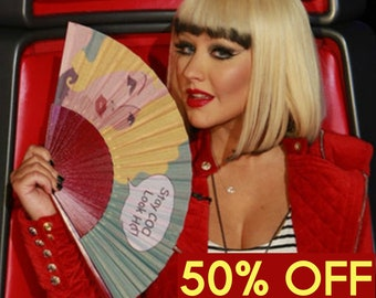 HAND FAN Christina Aguilera's choice on The Voice designer hand fan Pop Art design unique gift for her fashion accessories Free Shipping