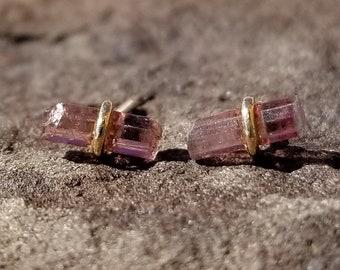 Raw Stone Tourmaline Crystal Earrings Pink Tourmaline Stud Earrings Raw Crystal Jewelry Womens Gift Raw Tourmaline Crystal Studs 14K Gold