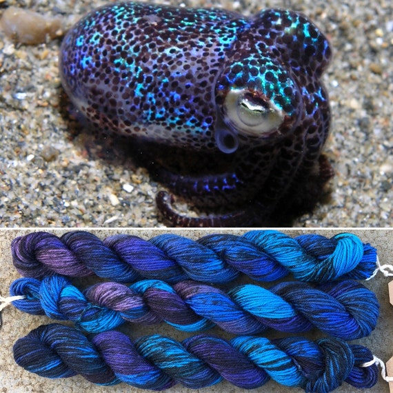 Bobtail Squid 20g Miniskein, speckled purple blue merino nylon sock yarn