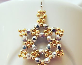 "Snowflake Beadweaving Earrings ""Holiday Sparkle"""
