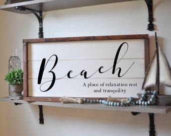 beach sign, framed shiplap, vintage wood sign